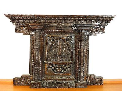 VTG Antique CARVED WOOD WINDOW or DOOR Asian Wall Art INDIA CHINA Buddha Temple