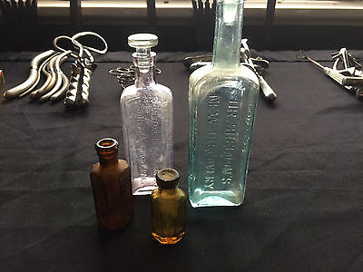 Old Medicine and Poison Bottles, Dr Sheldon, California Fig Syrup, collection x4