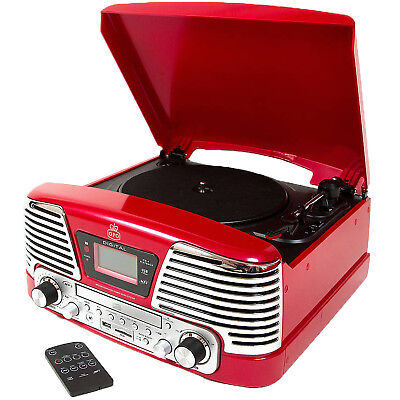 GPO Memphis Retro Red LP Vinyl Record Turntable Mp3 CD FM Radio Music Player