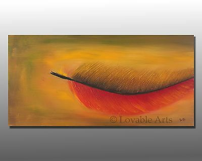 "ORIGINAL Red Feather fine Abstract Painting 48"" Large Modern Contemporary Art"