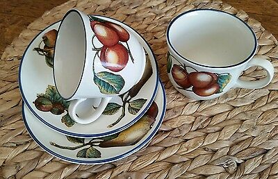 2 Staffordshire Potteries Autumn Fayre Duos Cups and Saucers