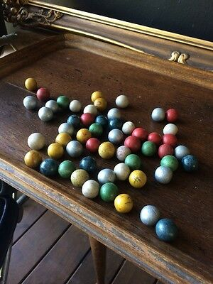Marble Collection, Handmade Ceramic 1940s, 55 In Total. Marbles