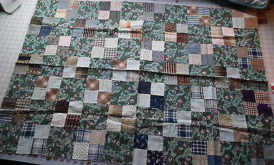 35 1870-1910 small 4 Patch quilt blocks, sewn into small top