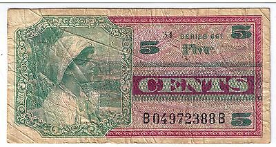 U.S. Military Payment Certificate - Series 661 Five (5) Cents