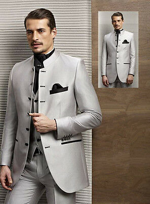 Custom Made Light Grey Italian Style Men's Groom Wedding Suits Groomsman Tuxedos