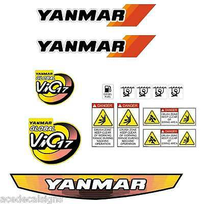 Yanmar VIO17 Decals Stickers Kit Set Mini Excavator