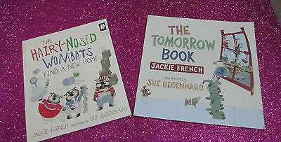 JACKIE FRENCH Children's Picture Story Books x 2 - TOMORROW BOOK, WOMBATS *NEW*