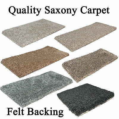 Soft Saxony Carpet 4m Wide 15mm Thick Felt Back 6 Colours £6.99 per m2 Any Size