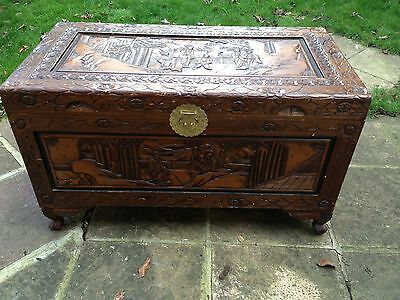 Oriental Camphor Style Carved Chest Trunk Coffer Storage Box Table