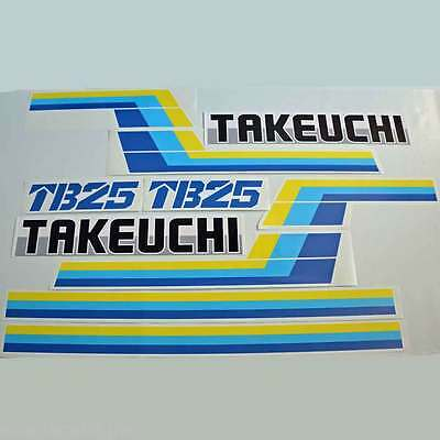 TB25 Decals TB250 Stickers Takeuchi Mini Excavator repro Decal Set Laminated