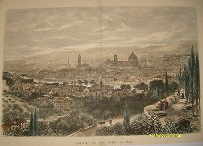 Stampa Antica Originale- Firenze-Florence- London News- 1865-Cm 51X37