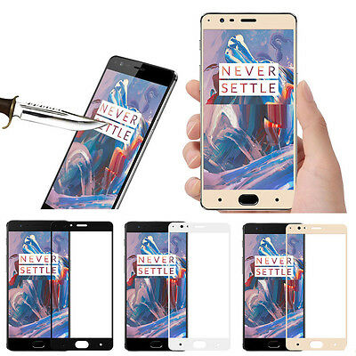 Black Full Cover 3D Tempered Glass Screen Protector  For One Plus 3T Three