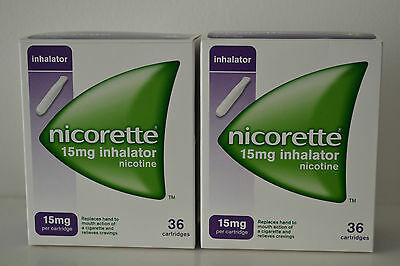36 X 2 NICORETTE 15mg INHALATOR CARTRIDGES 72 CARTRIDGES