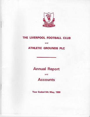 "RARE Liverpool FC ""Annual Report & Accounts"" 1989-1990: 16 pages. Historic item"