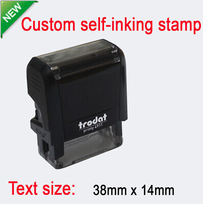 Custom Personalised Self Inking Rubber Stamp Business Name Address 38x14mm