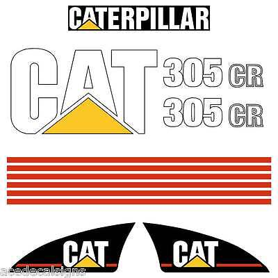 CAT 302 303 304 305 Decals Stickers Mini Excavator Kit