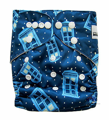 Modern Reusable Washable Baby Cloth Nappy Nappies & Insert, Tardis Police Box