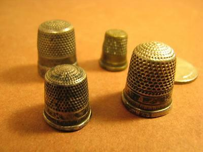 Lot 4 Antique Metal Thimbles One Sterling one Childs