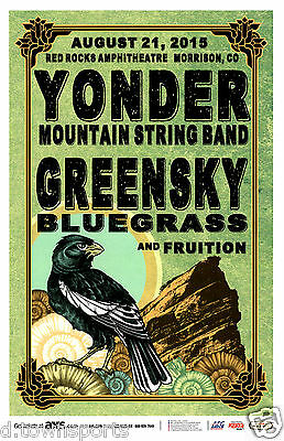 YONDER MOUNTAIN STRING BAND Greensky Bluegrass 2015 Red Rocks Flyer / Gig Poster