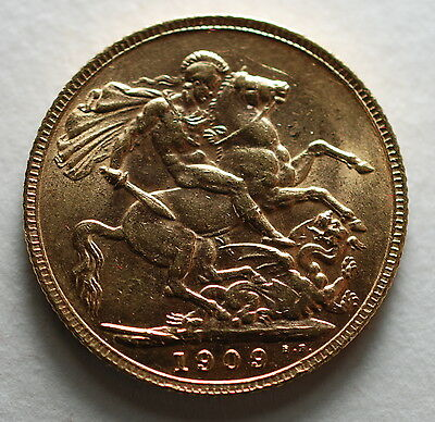 1909   AUSTRALIA London  MINT GOLD SOVEREIGN COIN