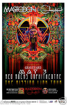 MASTODON & CLUTCH Missing Link Tour 2015 Red Rocks 11x17 Gig Flyer / Show Poster