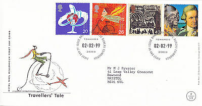 2 FEBRUARY 1999 TRAVELLERS TALE ROYAL MAIL FIRST DAY COVER BUREAU SHS (d)