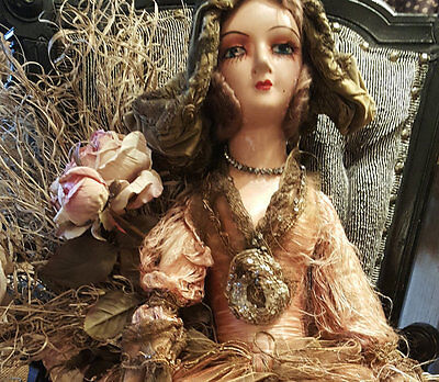 Boudoir Doll, Rare Tattered & Beautiful 1930's w/ Original Everything