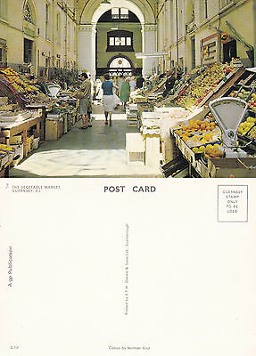 1980's THE VEGETABLE MARKET GUERNSEY CHANNEL ISLANDS UNUSED COLOUR POSTCARD
