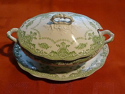 Antique W H Grindley 1891 - 1914 small sauce tureen on stand