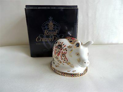 Royal Crown Derby Piglet Paperweight Original Box 1st Quality Gold Stopper