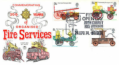 24 April 1974 Fire Service Stuart First Day Cover Open Day Bristol Avon Shs