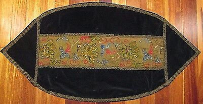 """LOOK! c1830 Antique Needlepoint Hand-Stiched Tapestry or Table Runner? 48"""" x 24"""""""