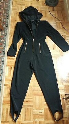Black zip up vintage hooded fitted jumper jumpsuit catsuit lots of zippers M