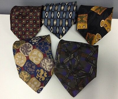 XMI EXPRESSLY FOR MARK SHALE Lot Of 5 Assorted Patterned Silk Mens Ties B3255 Q