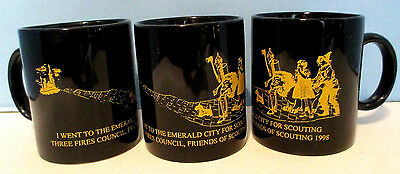 Set of 3 Boy Scout Coffee Mug 1998 Three Fires Council Cup Emerald City Black
