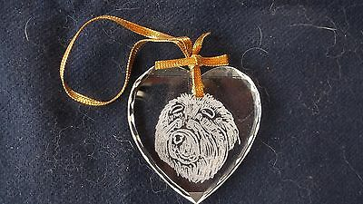 Chow Chow- Heart shaped engraved Facetted Crystal ornament by Ingrid Jonsson