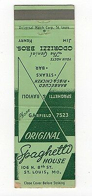 Odorizzi Brothers Spaghetti House St. Louis MO, Vintage Matchbook Cover Jan16