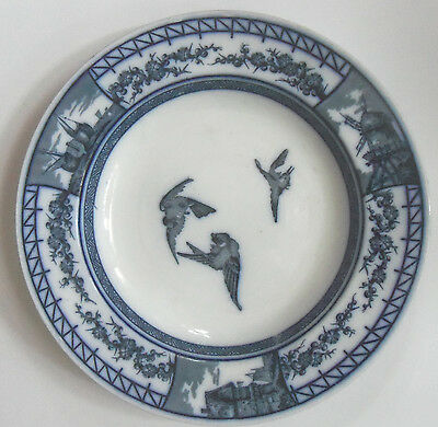 Brown, Westhead, Moore & Co France Pattern Blue And White Birds Soup Plate c1875