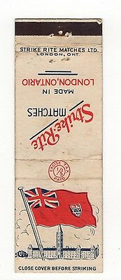 Strike Rite Matches Made In London Ontario Canada, Vintage Matchbook Cover Jan16