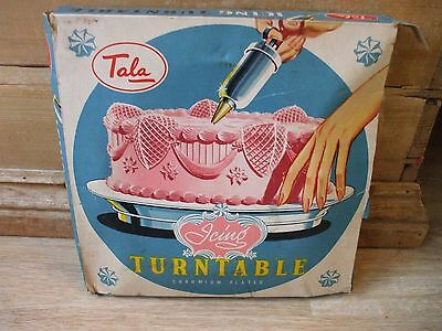Vintage Boxed Tala Icing Turntable Cake Decorating  Chromium Plated No. 1754