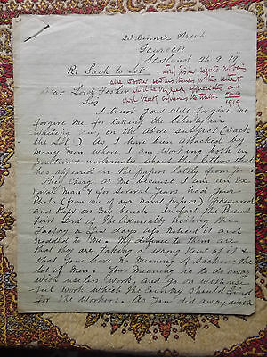 WWI LETTER 26th September 1919 ROYAL NAVY ex-naval Officer to Lord Fisher