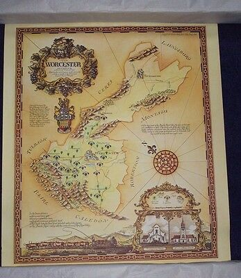Six Decorative Vintage 1970s Posters of South Africa Wine Regions (Set 1)