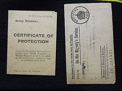 WWI MUNITIONS WORKER Army Reserve Certificate of Protection 11/9/1918