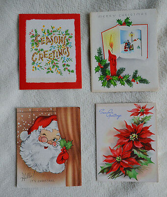 Lot of 4 Vintage Cards Christmas Holiday beautiful illustrations bright