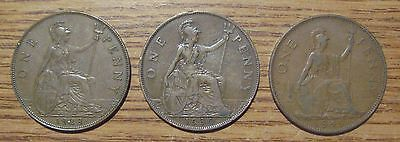 Lot of 3 Great Britain Large Cent 1928,1930,1949 Take a Look