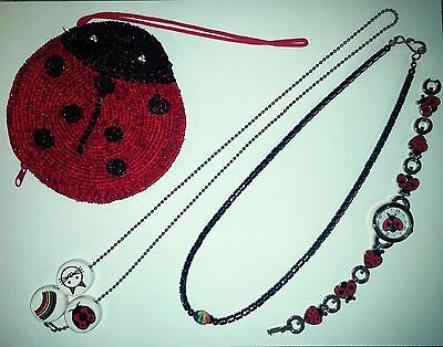 Ladybug Lover Gift Lot ~ 2 Necklaces, Watch, and Beaded Change Purse