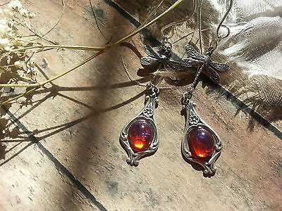 Dragonfly Dropped Fire Opal Earrings Huge Sale Free Shipping in US