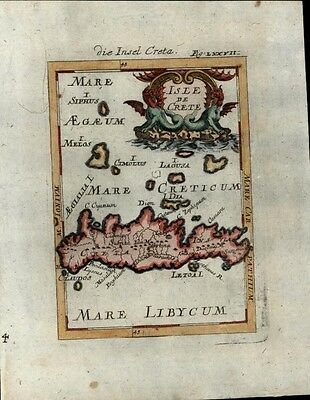 Crete Greece Aegean Dragon cartouche Mediterranean Sea 1719 Mallet antique map
