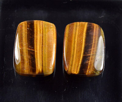 20.90  Cts. 100 % Natural Pair Of Tiger Eye Cushion Cab Untreated Loose Gems
