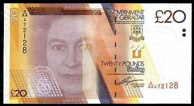 GIBRALTAR  20  POUNDS  2011  P 37  Prefix A/AA  Uncirculated  Banknote